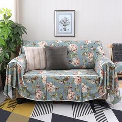 美式田园全盖沙发套沙发罩沙发巾 沙发巾四人(235-300cm) 妮蒂娅蓝