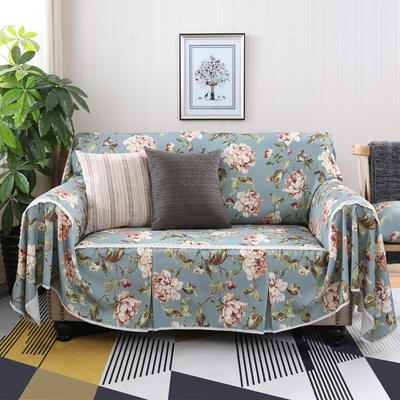 美式田园全盖沙发套沙发罩沙发巾 单独右贵妃170*260cm 妮蒂娅蓝