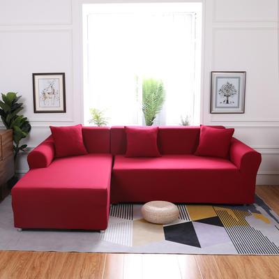 【总】2019款  全包万能沙发套组合沙发罩沙发巾沙发垫通用型 抱枕含芯【45*45】一只 酒红