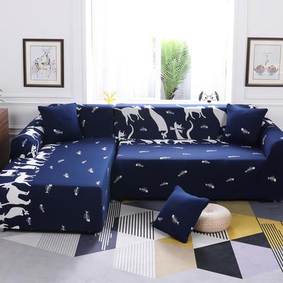 【总】2019款 卡通组合式沙发套美式全包万能沙发套沙发罩沙发巾沙发垫通用型 抱枕含芯【45*45】一只 时尚猫咪