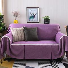 2018新款竹节麻双人沙发巾沙发垫沙发罩沙发套 抱枕套45*45cm 粉紫