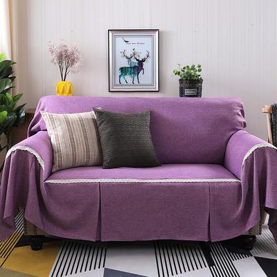 2019新款竹节麻双人沙发巾沙发垫沙发罩沙发套 单人215*200cm 粉紫