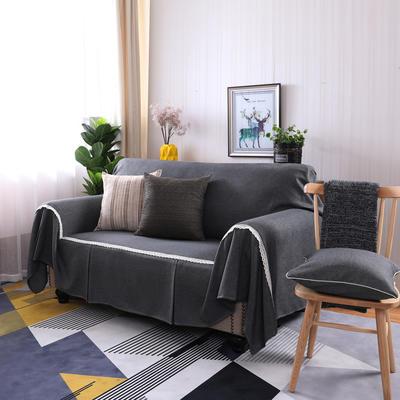 2019新款竹节麻双人沙发巾沙发垫沙发罩沙发套 抱枕套45*45cm 黑灰时尚