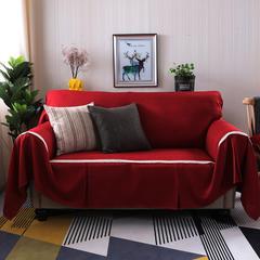 2018新款竹节麻双人沙发巾沙发垫沙发罩沙发套 抱枕套45*45cm 酒红