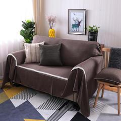 2018新款竹节麻双人沙发巾沙发垫沙发罩沙发套 抱枕套45*45cm 咖啡人生