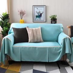 2018新款竹节麻双人沙发巾沙发垫沙发罩沙发套 抱枕套45*45cm 蓝韵简爱