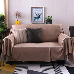 2018新款竹节麻双人沙发巾沙发垫沙发罩沙发套 抱枕套45*45cm 牛奶咖啡