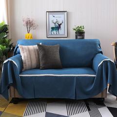 2018新款竹节麻双人沙发巾沙发垫沙发罩沙发套 抱枕套45*45cm 深湖蓝