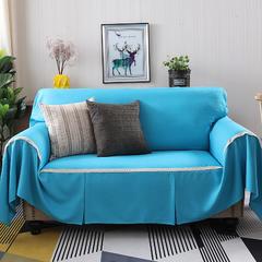 2018新款竹节麻双人沙发巾沙发垫沙发罩沙发套 抱枕套45*45cm 天之蓝