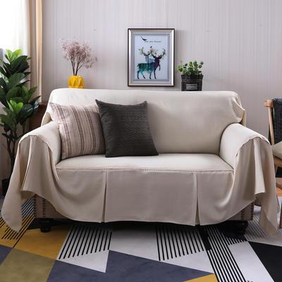 2019新款竹节麻双人沙发巾沙发垫沙发罩沙发套 单人215*200cm 小米黄