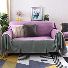 2018新款纯色双拼竹节麻沙发巾沙发罩沙发垫沙发套 抱枕套45*45cm 粉紫加雅韵