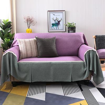 2019新款纯色双拼竹节麻沙发巾沙发罩沙发垫沙发套 抱枕套45*45cm 粉紫加雅韵