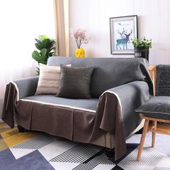 2018新款纯色双拼竹节麻沙发巾沙发罩沙发垫沙发套 左右贵妃沙发罩170*260cm 黑灰时尚加咖啡人生