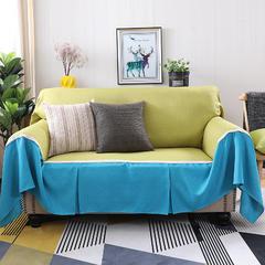 2018新款纯色双拼竹节麻沙发巾沙发罩沙发垫沙发套 抱枕套45*45cm 秋韵加天之蓝