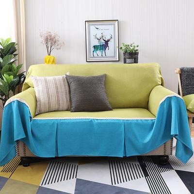 2019新款纯色双拼竹节麻沙发巾沙发罩沙发垫沙发套 抱枕套45*45cm 秋韵加天之蓝