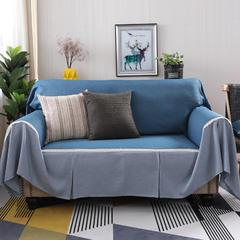 2018新款纯色双拼竹节麻沙发巾沙发罩沙发垫沙发套 抱枕套45*45cm 深湖蓝加灰韵