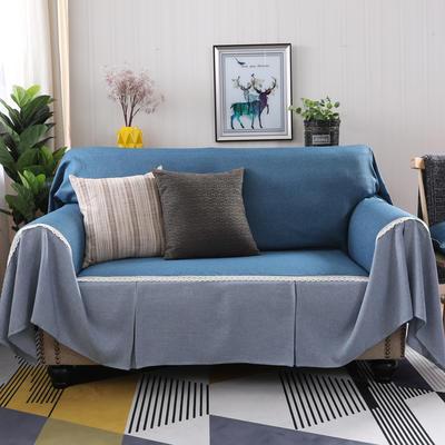 2019新款纯色双拼竹节麻沙发巾沙发罩沙发垫沙发套 抱枕套45*45cm 深湖蓝加灰韵
