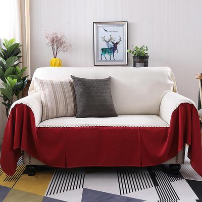 2019新款纯色双拼竹节麻沙发巾沙发罩沙发垫沙发套 抱枕套45*45cm 小米黄加酒红