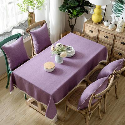 2019款 新风格加厚竹节麻桌布茶几布台布长方形正方形可以用 90*90【一条】 粉紫