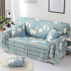 2018新款-双面防水数印沙发套沙发罩沙发巾沙发垫 同色45*45抱枕套一只(不含芯) 北极熊