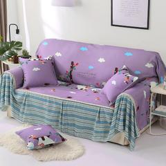 2018新款-双面防水数印沙发套沙发罩沙发巾沙发垫 同色45*45抱枕套一只(不含芯) 快乐小象