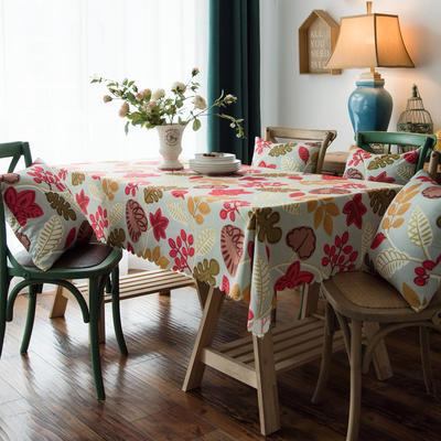 布兰鸟家纺2019款—美式印花双面防水桌布台布餐桌布 90*90cm 艾米丽