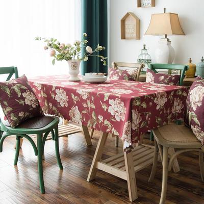 布兰鸟家纺2019款—美式印花双面防水桌布台布餐桌布 90*90cm 妮蒂娅红