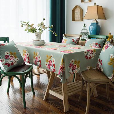 布兰鸟家纺2019款—美式印花双面防水桌布台布餐桌布 90*90cm 万妮莎