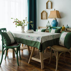 布兰鸟家纺2018新款—双拼棉麻桌布台布餐桌布 90*90cm 暮夏