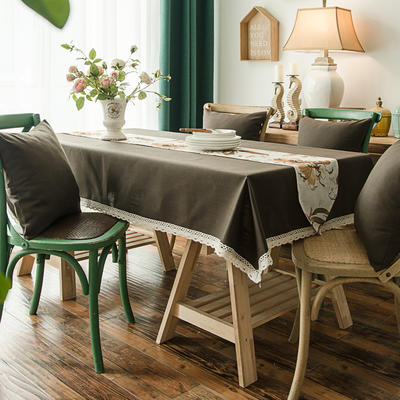 布兰鸟家纺2019新款—纯色棉麻桌布台布餐桌布 90*90cm 卡布奇诺