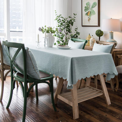 2019款粗麻双面品质桌布台布茶几布餐桌布艺酒店宾馆 抱枕套45*45 水绿色