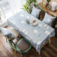 2018款双面防水数码印染桌布台布餐桌布茶几布餐厅酒店 抱枕套45*45cm 北极熊防水桌布