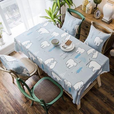 2019款双面防水数码印染桌布台布餐桌布茶几布餐厅酒店 抱枕套45*45cm 北极熊防水桌布