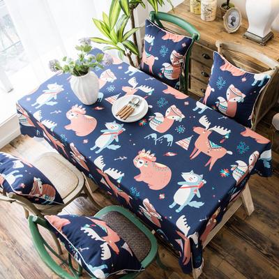 2019款双面防水数码印染桌布台布餐桌布茶几布餐厅酒店 抱枕套45*45cm 挪威森林防水桌布