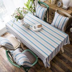 2018款双面防水数码印染桌布台布餐桌布茶几布餐厅酒店 抱枕套45*45cm 雅格纹浅蓝防水桌布