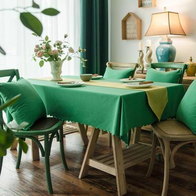 2019款芙蓉麻双面品质桌布台布茶几布餐桌布艺酒店宾馆 90*90cm 草绿