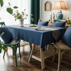 2019款芙蓉麻双面品质桌布台布茶几布餐桌布艺酒店宾馆 90*90cm 深蓝