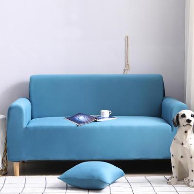 2019新款全包万能沙发套沙发罩沙发巾沙发垫沙发布 抱枕含芯【45*45一只】 纯色-湖蓝