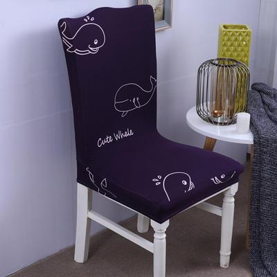 【总】2019弹力连体椅套椅垫椅子套沙发套 印花-深海蓝鲸灵