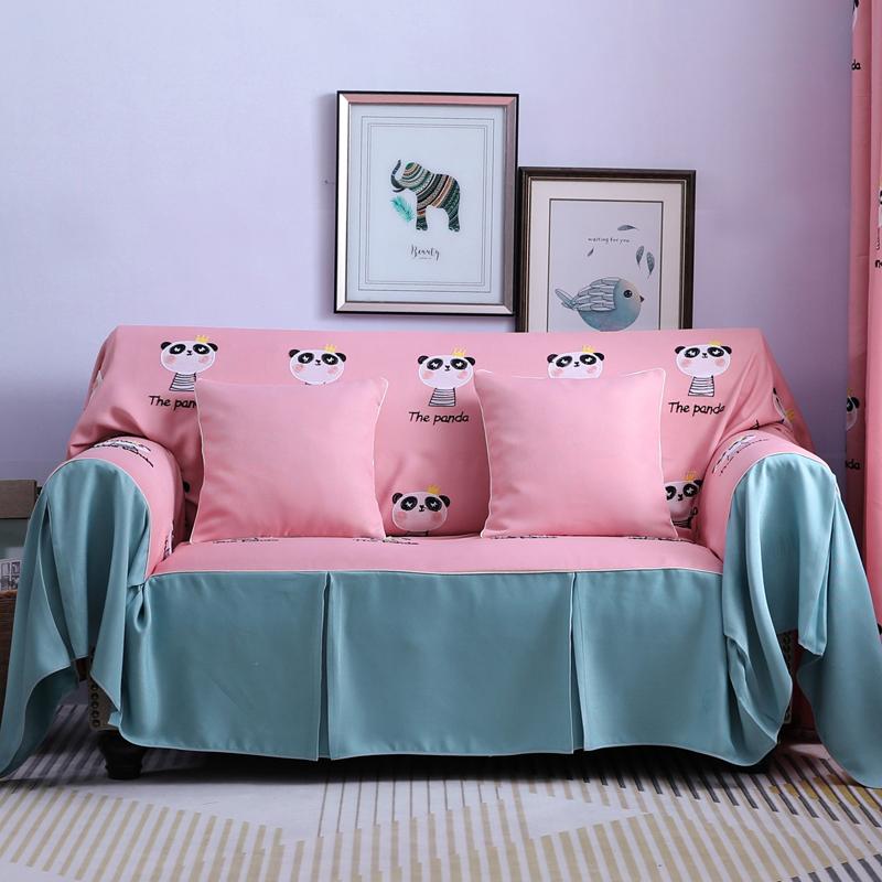 2019款刺绣简约卡通三人沙发巾防滑四季通用型全盖布万能套罩客厅可拆洗