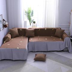 2019款沙发巾简约卡通全盖布艺四季通用防滑坐垫沙发套罩巾加厚三人客厅 同色45*45抱枕套一只(不含芯) 3D绣花-时光印象