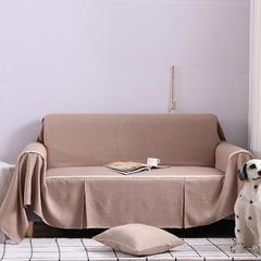 2019新款竹节布沙发巾全盖沙发防灰尘沙发头盖布沙发靠背巾 抱枕套45*45cm 牛奶咖啡