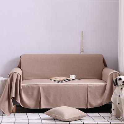 2019新款竹节布沙发巾全盖沙发防灰尘沙发头盖布沙发靠背巾 桌布90*90cm 牛奶咖啡