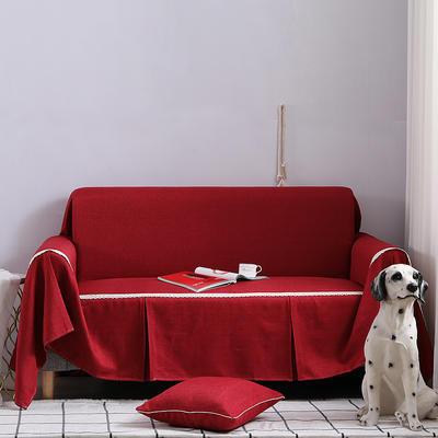 2019新款竹节布沙发巾全盖沙发防灰尘沙发头盖布沙发靠背巾 桌布90*90cm 酒红