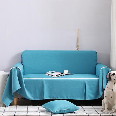 2019新款竹节布沙发巾全盖沙发防灰尘沙发头盖布沙发靠背巾 桌布90*90cm 天之蓝