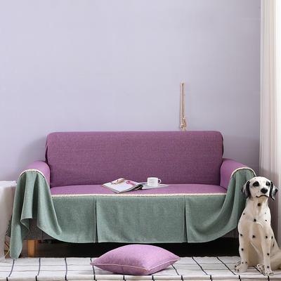 2019新款竹节布沙发巾全盖沙发防灰尘沙发头盖布沙发靠背巾 桌布90*90cm 粉紫+雅韵