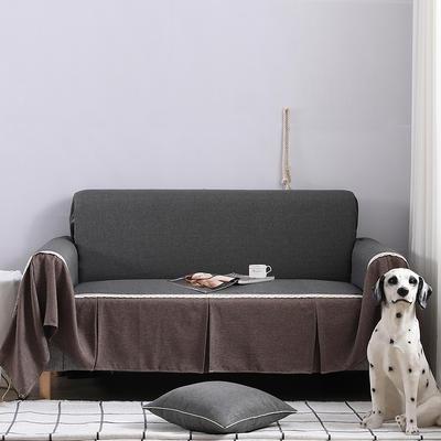 2019新款竹节布沙发巾全盖沙发防灰尘沙发头盖布沙发靠背巾 桌布90*90cm 深灰+咖啡