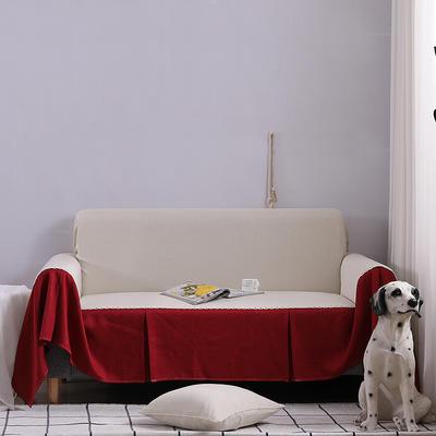 2019新款竹节布沙发巾全盖沙发防灰尘沙发头盖布沙发靠背巾 桌布90*90cm 小米黄+酒红