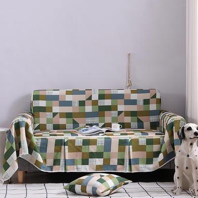 2019新款美式全盖沙发巾 桌布90*90cm/条 格莱美浅绿