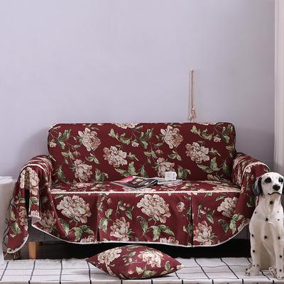 2019新款美式全盖沙发巾 桌布90*90cm/条 妮蒂娅红